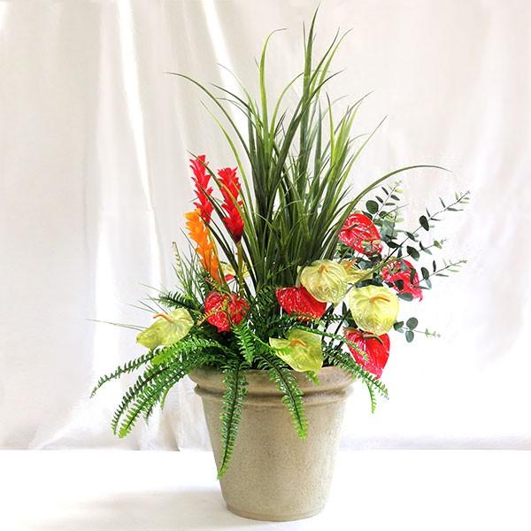 人工観葉植物 ミックスプランター アレンジ Cタイプ 鉢付き 全高1.05m×全幅60cm アンスリウム ジンジャー リーフ 草 トロピカル 造花 花材