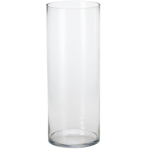ガラス花器・円柱型(全高40cm×直径18cm)(透明/クリア/硝子)(花瓶/花器/花入れ/フラワーベース)(筒形/筒型/シリンダー)(アレンジ/会場装花/ディスプレイ)