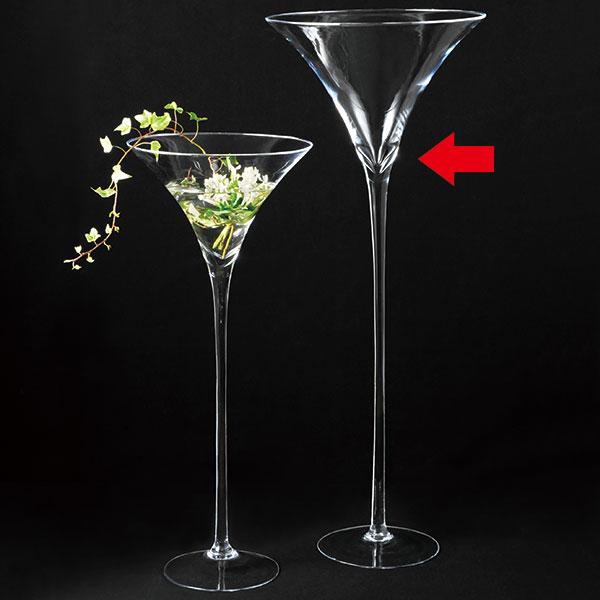 ガラス花器 全高70cm×直径29cm 透明 クリア 硝子 花瓶 花入れ フラワーベース カクテルグラス型 アレンジ ディスプレイ 会場装花 フォーマル