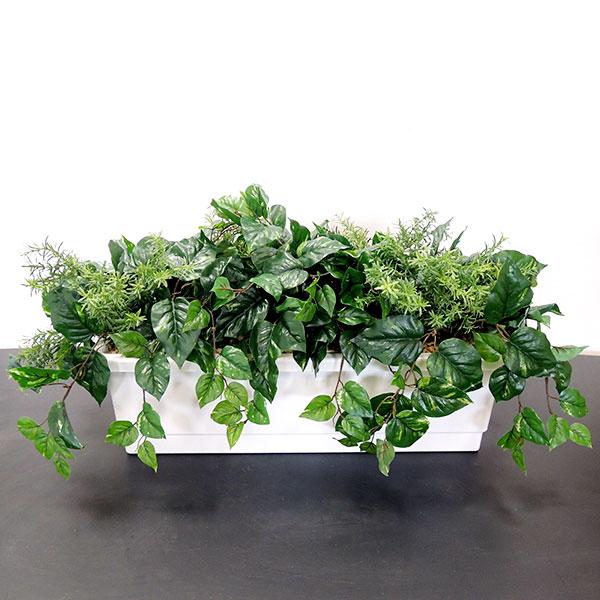 【屋外にも対応】 人工観葉植物 全高45cm グリーン ミックスプランターB 人工樹木 造花 フェイクグリーン オブジェ アレンジメント ディスプレイ 装飾