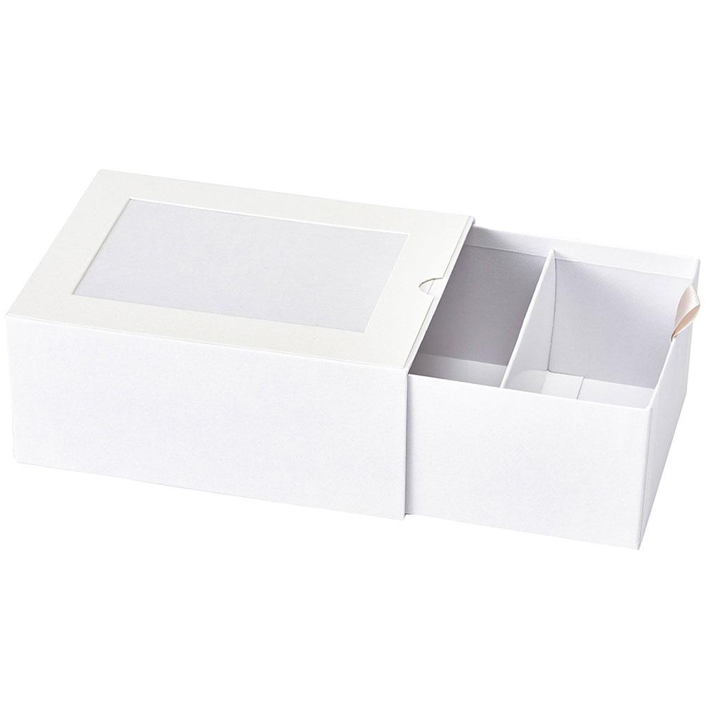 ギフトやインテリアに人気 仕切り付きの紙製ボックス フォトボックス 仕切り付 2個セット ホワイト SALE開催中 箱 花器 はこ 紙製 フラワーベース 全高7.2cm×幅16.4cm メーカー公式
