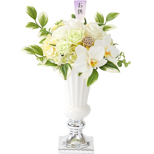 造花 真心 全高40cm×幅30cm まごころ 仏花 供花 法事 仏事 お彼岸 お盆 供養 アーティフィシャルフラワー 花材 プリザーブドフラワー フラワーアレンジメント ディスプレイ 装飾 ワックス素材の香り付き:ローズのほのかな香り