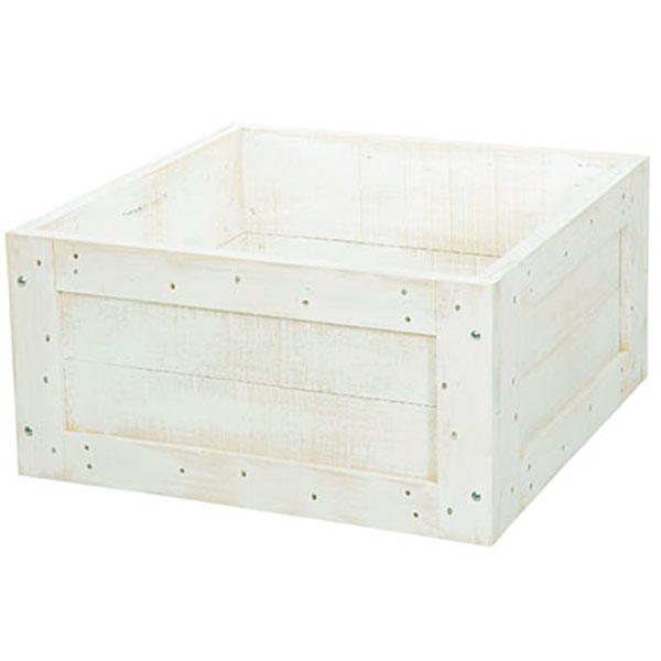 鉢カバー ウッドツリーベースM ホワイト 全高26cm×口52cm 底板なし 木製 ツリーデコレーション クリスマスツリー 足元隠し