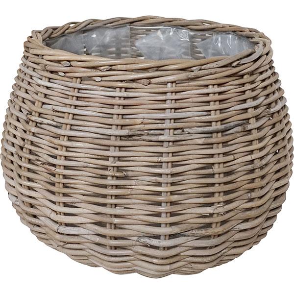 鉢カバー モンデリック ボール バスケット 12号用 58型 全高43cm×直径58cm 底穴なし ラタン製 天然素材 ポット 花器 観葉植物用