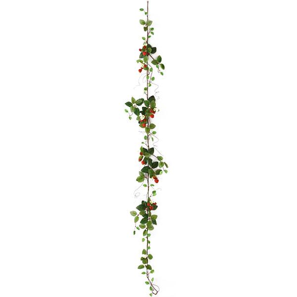 可憐な白い小花とキュートないちごの実がついた造花 造花 ストロベリー ガーランド 今だけスーパーセール限定 全長1.8m 2本セット モデル着用&注目アイテム イチゴ いちご 食品模型 ディスプレイ 食品サンプル フェイクフード オブジェ 人工観葉植物 苺