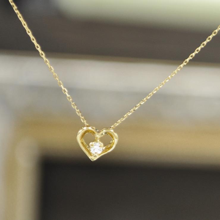 K18 18金 ゴールド ダイヤモンド ネックレス 『Petit Heart プチハート』 0.04ct 送料無料 一粒ダイヤ ゴールド 18k 18金 ペンダント レディース ジュエリー 高品質 【あす楽対応】【送料無料】 ギフト