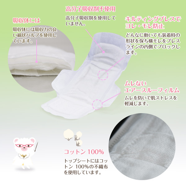 ナチュラムーン 衛生巾翼與大、 衛生棉 100%(NATURAMOON / w / / 衛生巾,衛生巾餐巾布 / 棉 / 高分子吸水材料、 過時、 敏感皮膚皮疹 / 4935137901608)