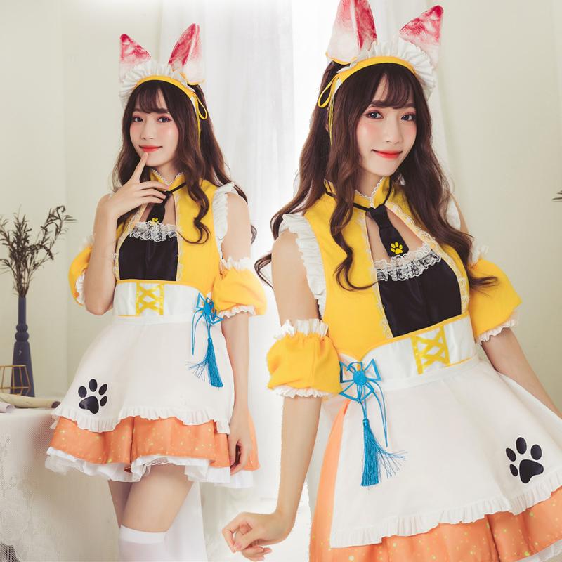 【即日出荷】1112 耳付き バニーガール風 メイド服 ゴスロリ ロリータ コスプレ衣装 【7819/黄色】