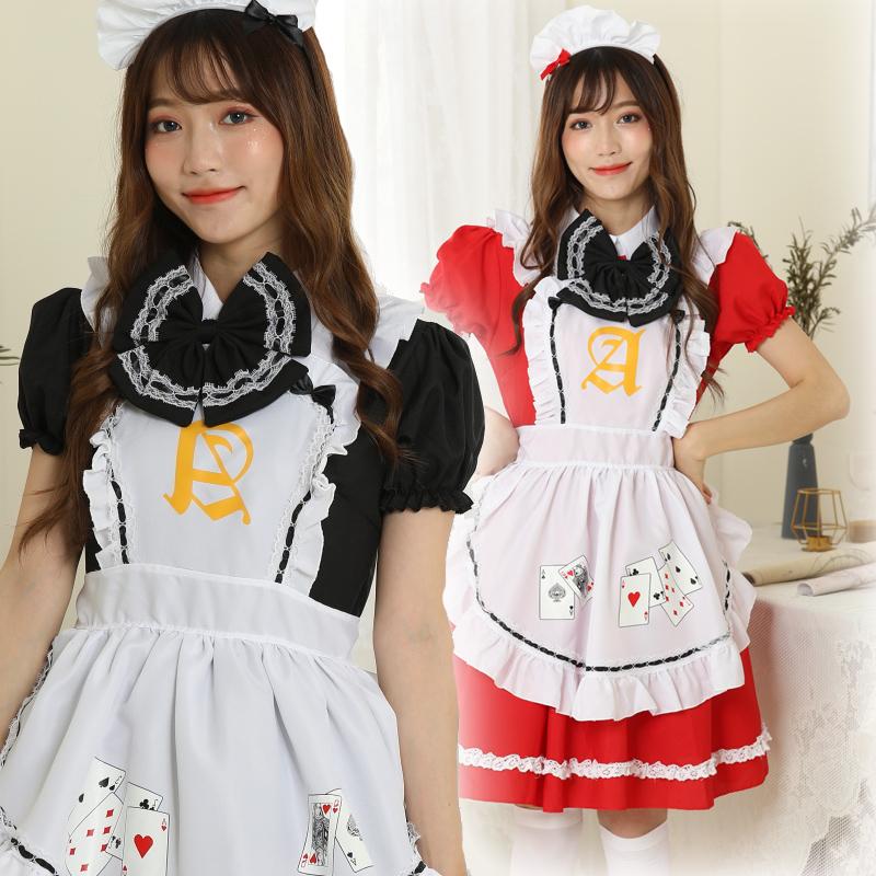 【即日出荷】1112 2色 メイド服 コスプレ衣装 【7822】