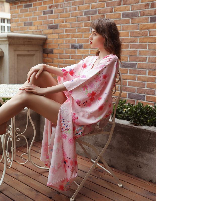 【即日出荷】1112 ロング丈 ピンク色 着物ドレス 浴衣 コスプレ衣装 【3047】