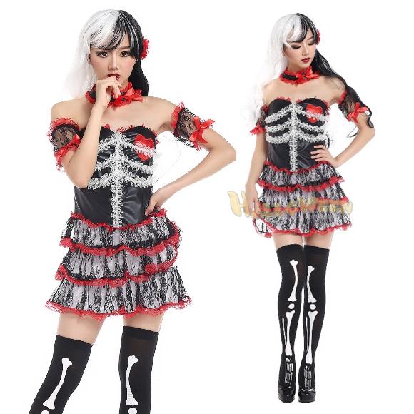 ゴースト花嫁ドレス ゾンビ ホラー系 3層スカート  コスプレ ハロウィン 衣装 大人用 服 コスチューム 仮装 セット かわいい 可愛い カワイイ パーティー パーティーグッズ イベント セクシー 女性用 レディース 余興 一式 kh829