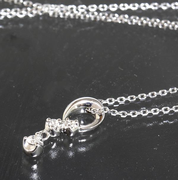 4℃ ダイヤ 3P ホワイトゴールド ネックレス 39cm K18WG 新品仕上済 箱【中古】