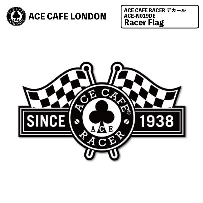 送料無料 ACE 公式 宅配便送料無料 CAFE RACER デカール Racer Flag エースカフェロンドン ステッカー レーサー クローバー ロゴ メンズ ツーリング レディース N019DE フラッグ おしゃれ バイク