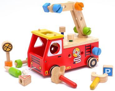 木のおもちゃ アイムトイ アクティブ消防車 木製玩具