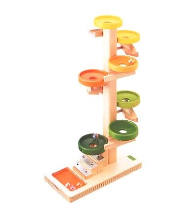 ベック社 木のおもちゃ ドイツ製 知育玩具 玉転がし トレイクーゲルタワー・レインボー 鉄琴付 落とすおもちゃ