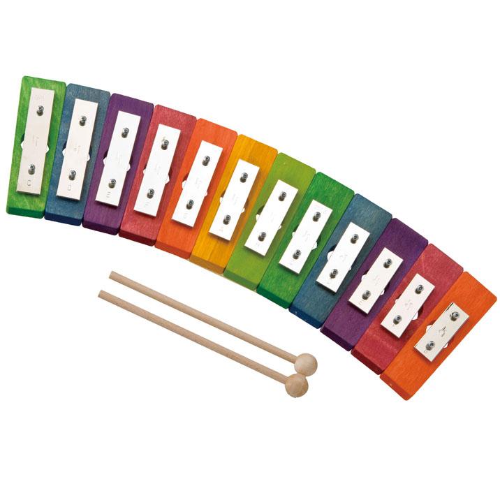 鉄琴 デコア社 レインボーグロッケン ダイヤ12音 楽譜付き 木のおもちゃ 楽器玩具 ドイツ製 DECOR