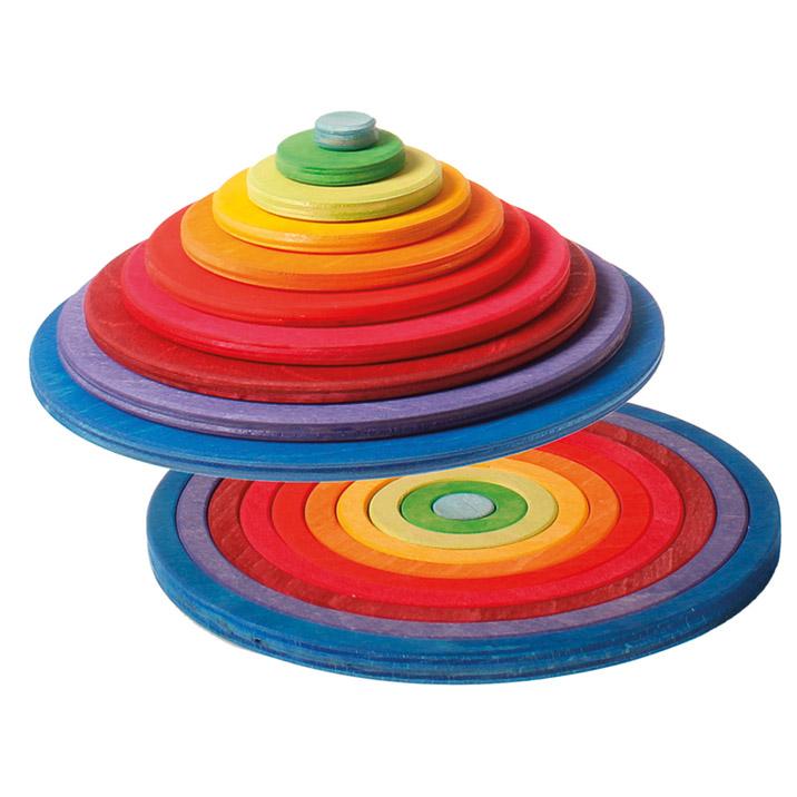 グリムス社 木のおもちゃ ドイツ製 GRIMMS 円盤とリング 虹色 積木 知育玩具 カラフル 木製玩具