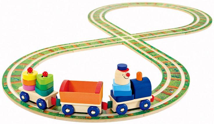 セレクタ社 木のおもちゃ Selecta 知育玩具 ドイツ製 レール&ロードセット 両面使用 汽車・車遊びに 木製玩具