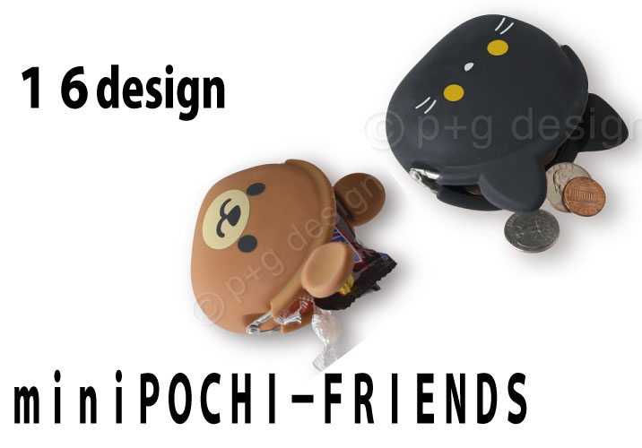 耳付がま口小物入れ シリコン製ポーチ MINIPOCHIFRENDS p+g design 犬柄 猫柄 あす楽対応 かえる クマ 世界の人気ブランド レッサーパンダ コアラ ブタ 新発売 パンダ