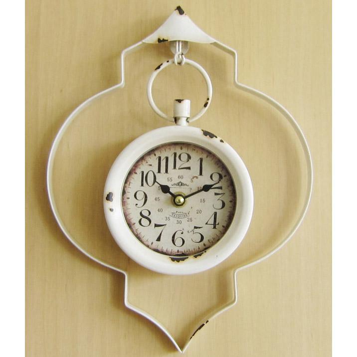 ハンガークロック ウォール 時計 白 超特価SALE開催 高級品 壁掛け時計 フレンチ風 ホワイト シャビーシック フレンチアンティーク風 文字盤 レトロ