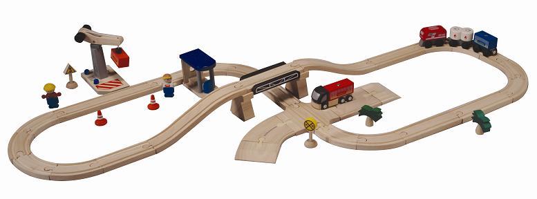 プラントイ 木のおもちゃ PLANTOYS ロード&レールプレイセット 輸送 木製玩具