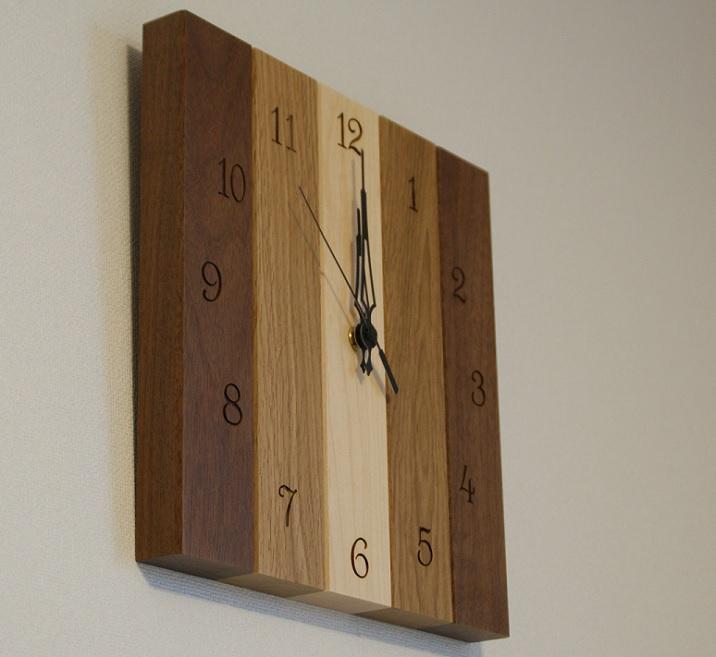 壁掛け時計 ウッドクロック 木製 ナチュラル スクエア ウォルナット、ナラ、メープル 掛時計