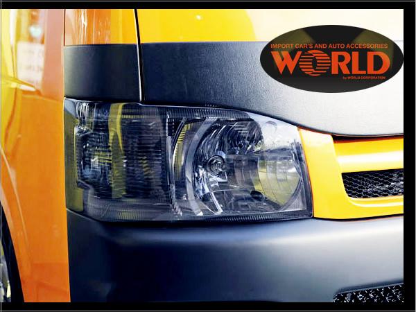 ワールドコーポ200系HIACE ハイエース マイチェン前 ヘッドライトカバー ライトスモーク 固定式 お取り寄せ【送料無料】