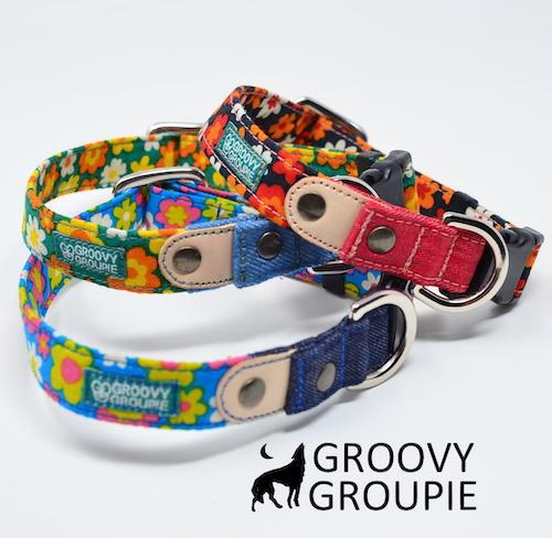 犬 首輪 小型犬用 ワンタッチで装着 GROOVYGROUPIE with dog 日本製 ワンタッチで装着簡単 レトロ風花柄 オーダーメイドでお作りいたします ポスト投函選択で送料無料 ギフ_包装 手作り レザー 半額 デニム