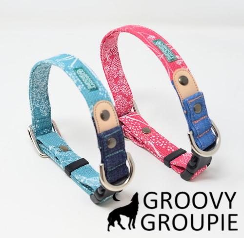 犬 首輪 小型犬用 ワンタッチで装着 GROOVYGROUPIE with dog 日本製 手作り プラント 信憑 ワンタッチで装着簡単 デニム 日本産 オーダーメイドでお作りいたします ポスト投函選択で送料無料 レザー
