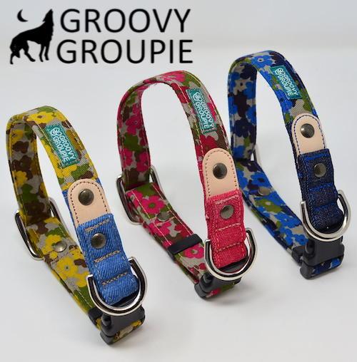 犬 首輪 卓出 小型犬用 ワンタッチで装着 GROOVYGROUPIE with dog 日本製 迷彩風花柄 ポスト投函選択で送料無料 オーダーメイドでお作りいたします 美品 レザー ワンタッチで装着簡単 デニム 手作り