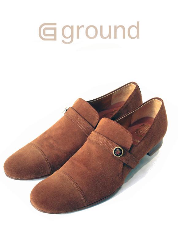 【送料無料】chausser(ショセ)C248BROWNブラウンボタン付きマニッシュシューズground靴 ポイント5倍