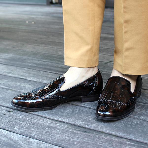 レディースマニッシュ べっ甲 スクエアトゥ 靴レビューキャンペーン実施中 ローファーground エナメル べっ甲ウィングチップキルトマニッシュシューズ ATELIERBRUGGE アトリエブルージュ 1449B ぺたんこ