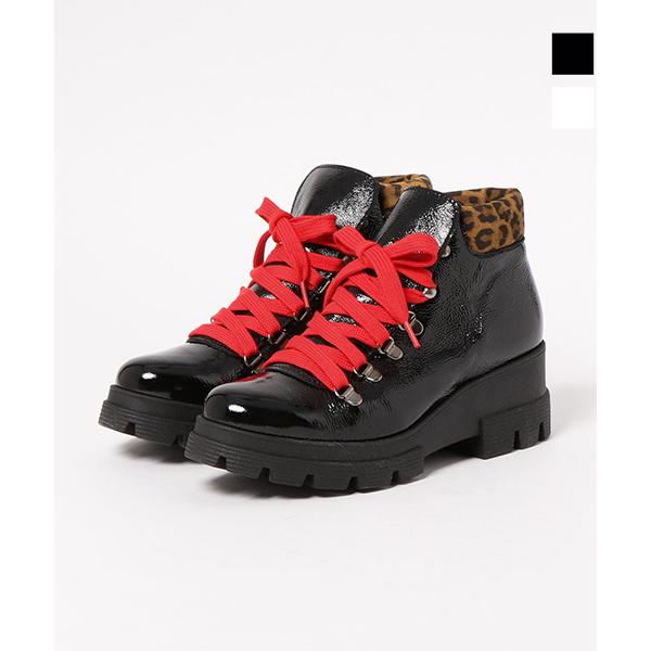 ポイント10倍NILA&NILA ニラニラ ANN79530 異素材コンビエナメルマウンテンブーツ レディース ブラック ホワイト カジュアル ground 靴 【キャッシュレス5%還元対象】