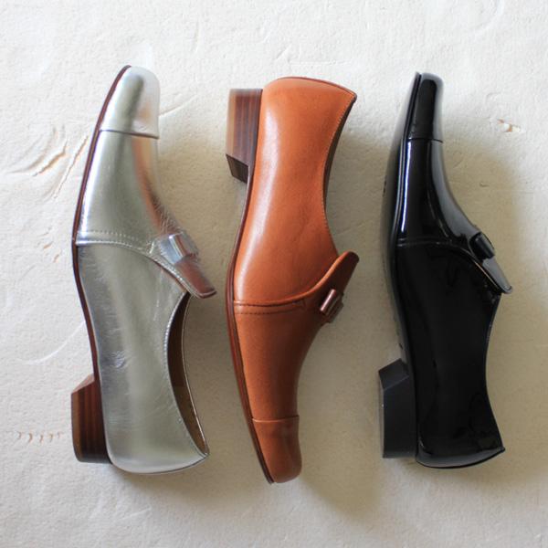 chausser(ショセ)C-2202リボン付きオペラマニッシュシューズエナメルブラックシルバーground靴 ポイント5倍