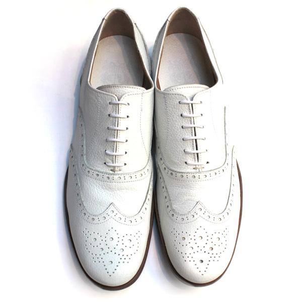 【送料無料】Men'schausserショセC-725短靴ウィングチップシューズホワイトground靴 ポイント5倍