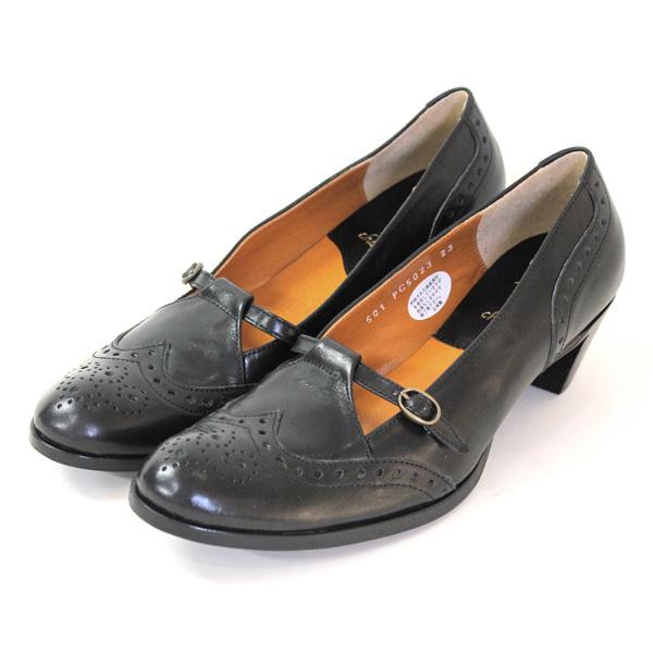 plusbychausserプリュスバイショセPC-5023ストラップパンプスブラックground靴 ポイント5倍