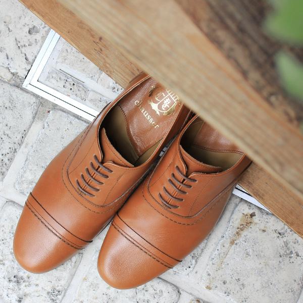 【2018春夏】chausser/ショセ C-247 ストレートチップマニッシュシューズ CAMEL キャメル 春物 ground 靴