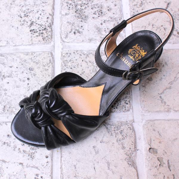 ポイント10倍【送料無料】chausserショセC2221ドレスサンダルブラックground靴 【キャッシュレス5%還元対象】レビューキャンペーン実施中