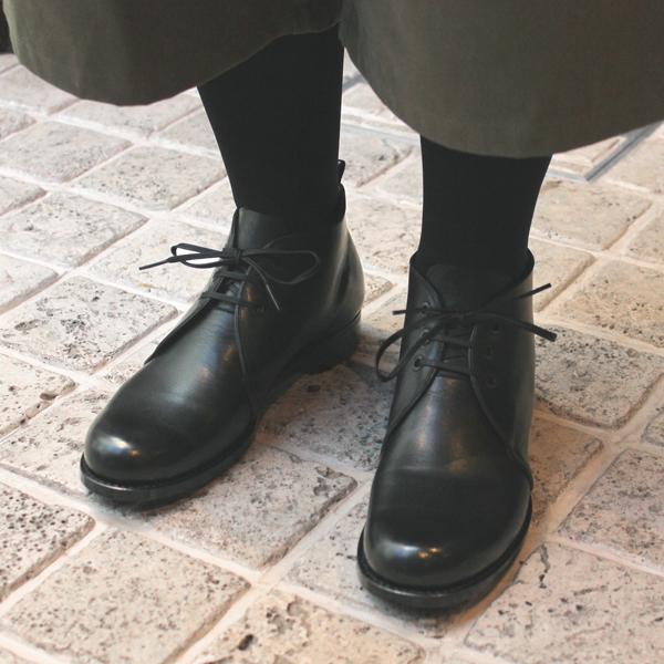 plusbychausserプリュスバイショセPC-5035チャッカブーツブラックground靴 ポイント5倍