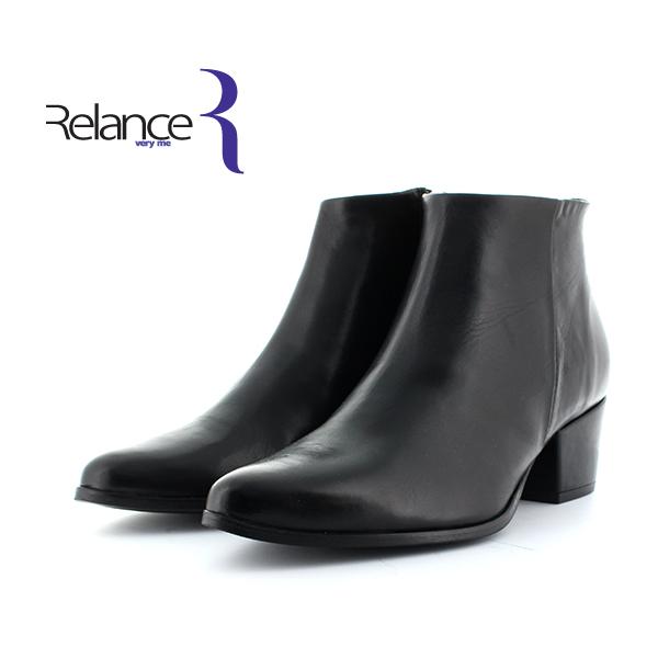 Relanceveryme(リランスベリーミー)6188サイドジップレザーショートブーツブラックチャンキーヒールground靴 ポイント5倍