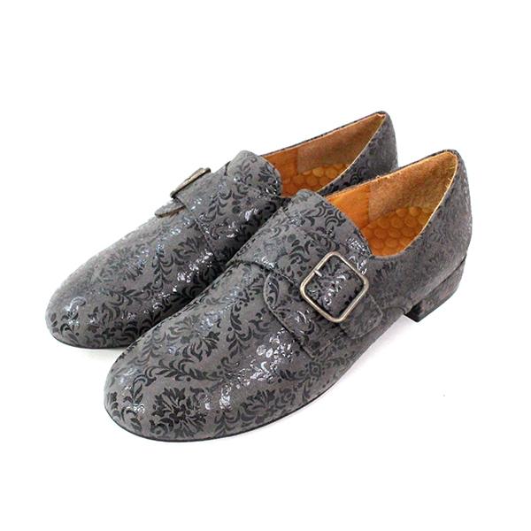 【送料無料】CHIEMIHARA/チエミハラREPOアラベスク模様バックルマニッシュシューズグレイ|ground|靴|
