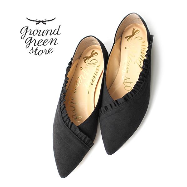 groundgreenstoreグラウンドグリーンストアRGL-000173010フリルカットワークバブーシュブラックground靴 ポイント5倍