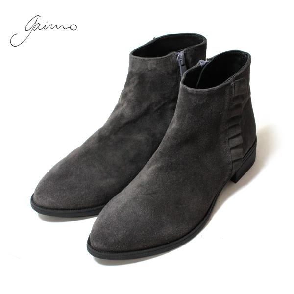 GAIMOガイモ1146sサイドフリルスエードショートブーツサイドジップサイドフリルスエードショートブーツガイモGAIMOグレーBLACKground靴 ポイント5倍