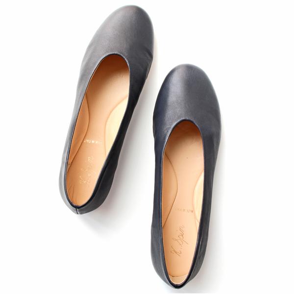 K.SPIN ケイスピン 8900 ラウンドトゥ フラットシューズ ブラック ground 靴 ポイント5倍