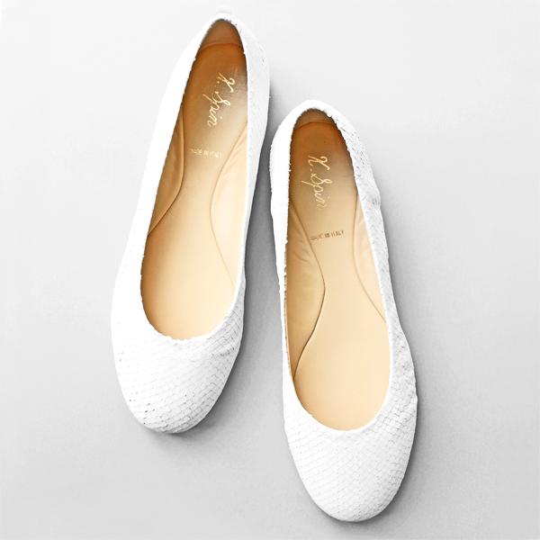ポイント10倍K.SPINケイスピン8901パイソン型押しフラットシューズホワイトground靴 【キャッシュレス5%還元対象】