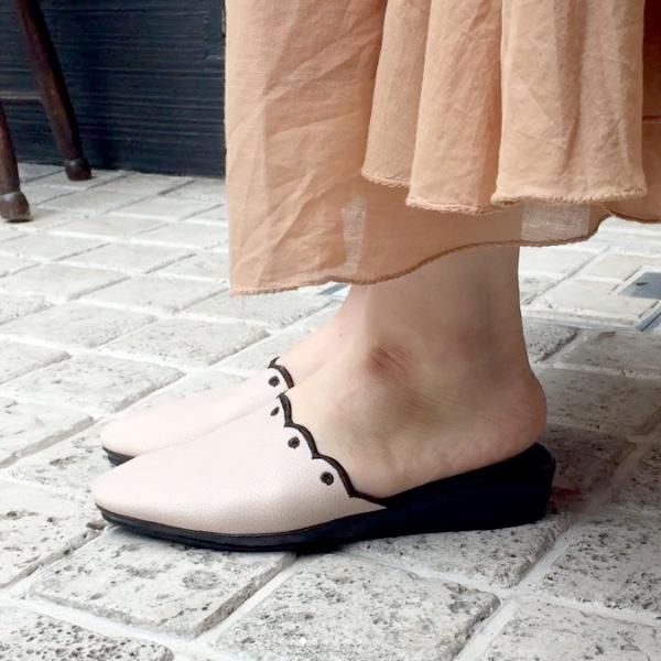 ポイント10倍HOMERSホーマーズ18088スカラップフラットミュールピンクベージュground靴 【キャッシュレス5%還元対象】レビューキャンペーン実施中