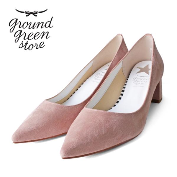 groundgreenstoreグラウンドグリーンストアGR1170チャンキーヒールスエードパンプスピンクground靴 ポイント5倍