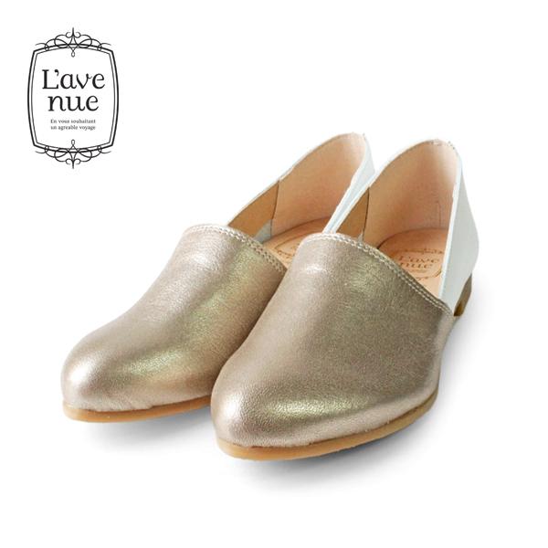 【2018秋冬】L'avenueラヴェニュー107レザー切り替えフラットシューズゴールド×ホワイトground靴 ポイント5倍
