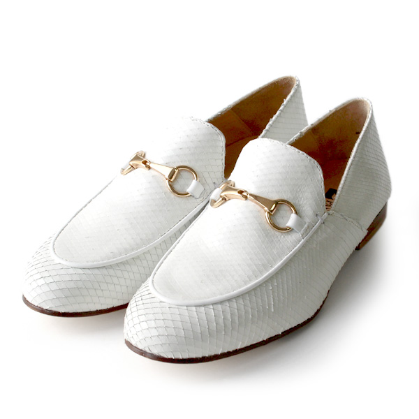 PASCUCCIパスクッチ776パイソン柄ビットローファーホワイトground靴 ポイント5倍