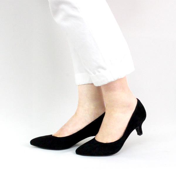 ポイント10倍【SS30】L'avenueラヴェニュー24097Aアーモンドトゥスエードパンプスブラックground靴 【キャッシュレス5%還元対象】レビューキャンペーン実施中